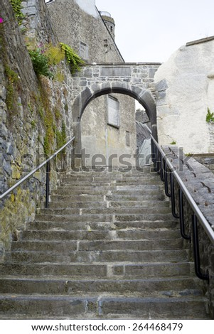 ancient steps in the city of kilkenny in ireland - stock photo