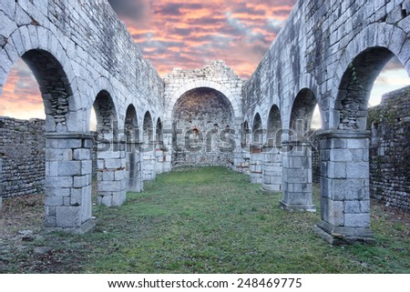 ancient stone ruins of the San Martino Church in Gattico , Italy - stock photo