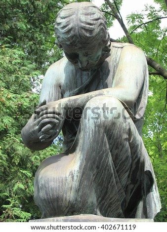 ancient stone sculpture woman  mourn for the dead - stock photo