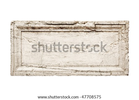 ancient stone slab with carved frame - stock photo