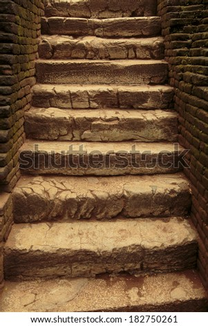 Ancient stone stairs - stock photo