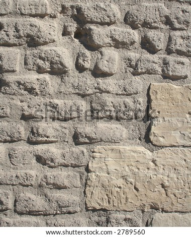 Ancient Stone Wall Background - stock photo