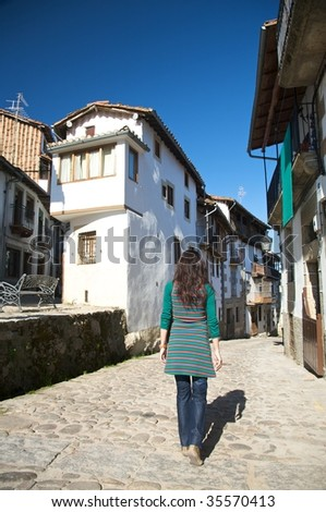 ancient street at candelario village in salamanca spain - stock photo