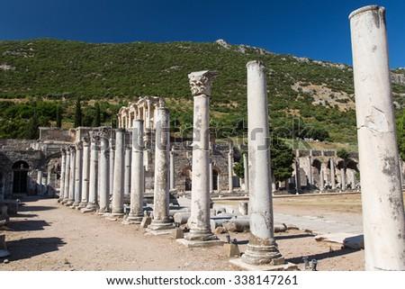 Ancient Street in Ephesus Ancient city, Izmir, Turkey - stock photo