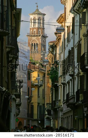 ancient street in Verona - Romeo & Juliet city - stock photo