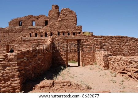 Ancient street leading to the ruined building on Salinas ruin site, New Mexico - stock photo