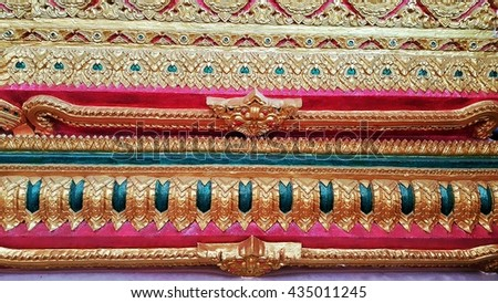Ancient,striped ,Thai,traditional ,Thai style art of stucco in temple rural Thailand - stock photo
