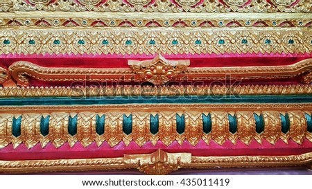 Ancient,striped, Thai,traditional ,Thai style art of stucco in temple rural Thailand - stock photo