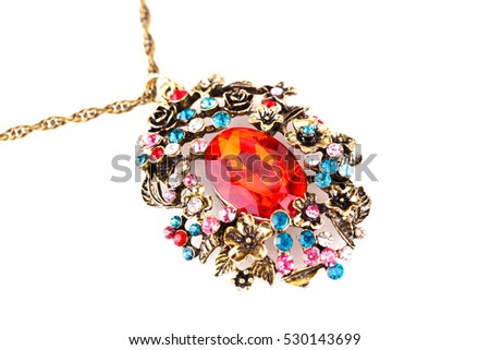 Ancient style necklace isolated on a white background.