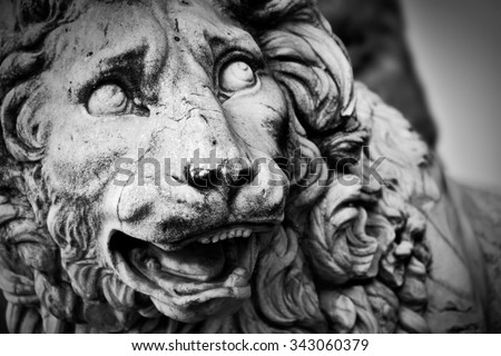 Ancient style sculpture of The Medici lion in Loggia dei Lanzi in Florence, Italy. Black and white