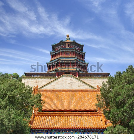 Ancient Summer Palace against a blue sky with dramatic clouds, Beijing, China - stock photo