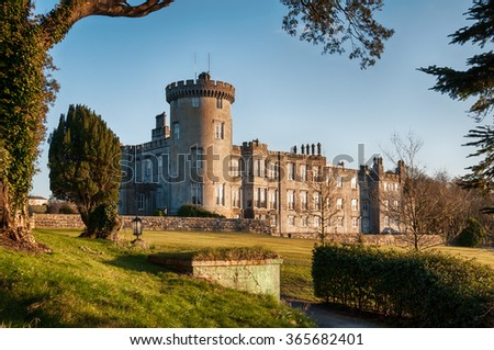 ancient sunset evening  castle in county clare ireland - stock photo