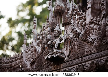 Ancient teak monastery of Shwenandaw Kyaung in Mandalay, Myanmar - stock photo
