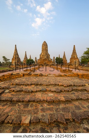 Ancient temple at Ayuthaya, Thailand in the morning - stock photo