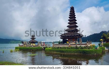 Ancient temple at coast of Bali - stock photo