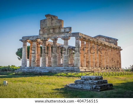 Ancient temple at famous Paestum Archaeological UNESCO World Heritage Site, which contains some of the most well-preserved ancient Greek temples in the world, Province of Salerno, Campania, Italy - stock photo
