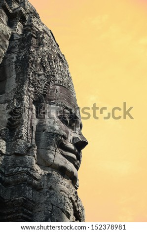 Ancient temple Bayon in Angkor Wat Cambodia