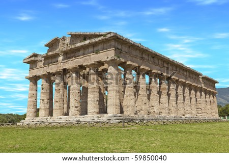 Ancient temple built BC by Greek colonists, in Paestum, Italy