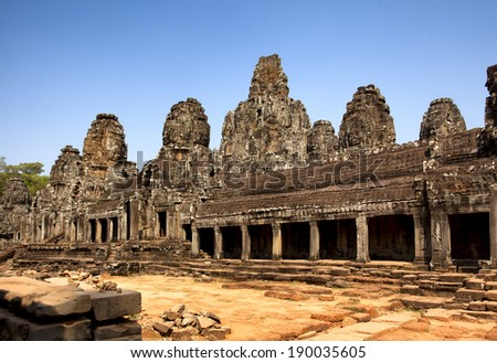 Ancient temple in angkor wat, Siem riep, Cambodia. Angkor Wat is the score tourist row the first on the world. - stock photo