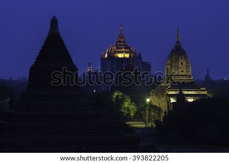 Ancient temple in Bagan at twilight, Myanmar - stock photo