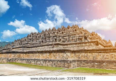 Ancient temple of Borobudur in Java, Indonesia - stock photo