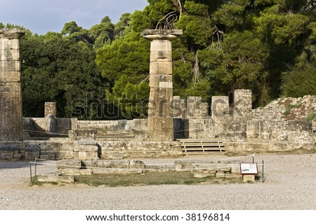 Ancient temple of Goddess Hera and altar of God Zeus  at Olimpia archaeological site in Greece - stock photo