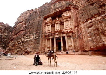 ancient temple of Petra, Jordan - stock photo
