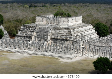 ancient temple of 1000 warriors in Chichen Itza, Yucatan, Mexico