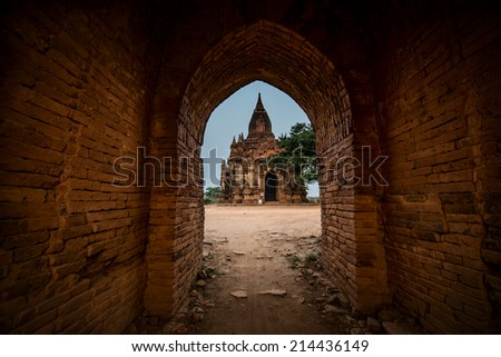 Ancient temple view of old bagan, Bagan, Myanmar (Burma). The most beautiful pagoda (Paya) of bagan. April 2014. - stock photo
