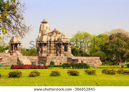Ancient temple, Western Temples in Khajuraho, Madya Pradesh, India. UNESCO World Heritage Site - stock photo