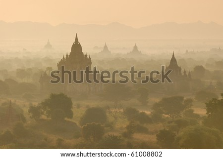 Ancient temples and stupas in Bagan, Myanmar - stock photo