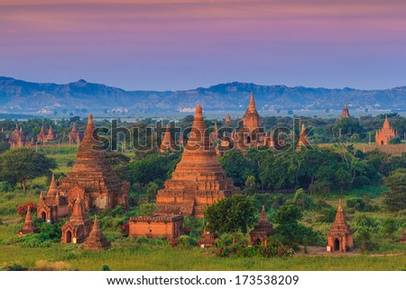 Ancient Temples in Bagan, Myanmar - stock photo