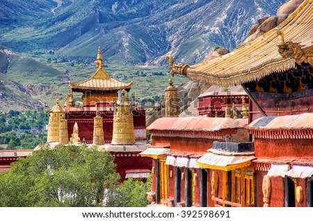 Ancient temples. Lhasa, Tibet - stock photo