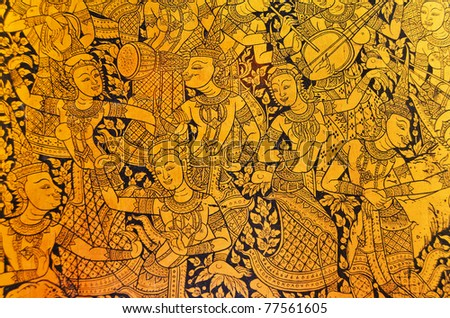 Ancient Thai pattern on wall in Thailand Buddha Temple , Asian Buddha style art - stock photo