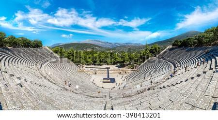 Ancient theater Epidaurus, Argolida, Greece in a summer day - stock photo