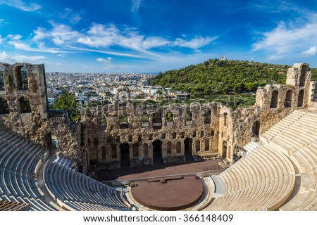 Ancient theater in a summer day in Acropolis Greece, Athnes - stock photo