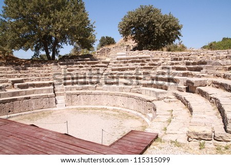 Ancient theater in legendary Troy, Turkey - stock photo