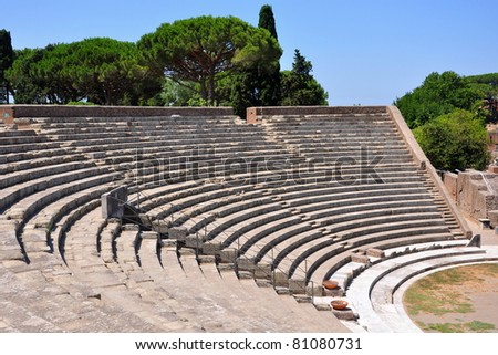 Ancient theater in Ostia Antica, Rome, Italy - stock photo