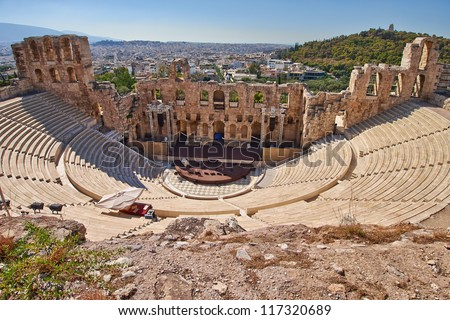 ancient theater under Acropolis of Athens, Greece - stock photo