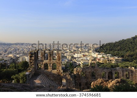 Ancient theatre under Acropolis of Athens and view of city, Greece - stock photo