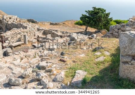 Ancient Thera on Santorini island in Greece. - stock photo