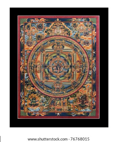 "Ancient tibetan tangka ""Wheel of life"" (Mandala) isolated on the white background - stock photo"