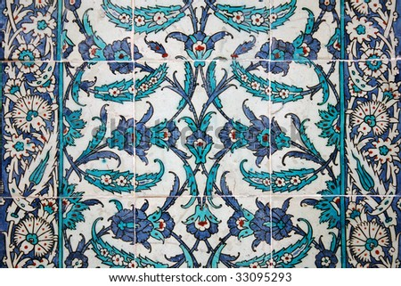 Ancient tile pattern on ceramic wall in Topkapi Palace in Istanbul, Turkey