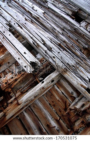 ancient timbers from a wrecked structure decaying