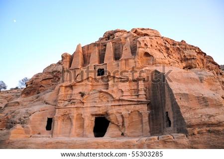 ancient tomb in Petra ,n Jordan - stock photo