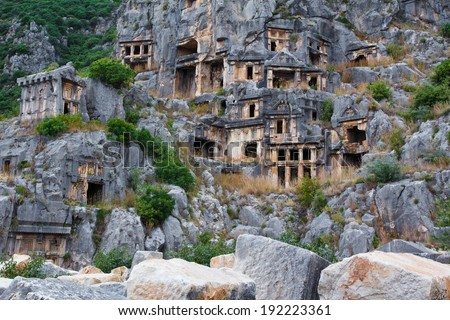 Ancient tombs in Myra, Turkey - stock photo