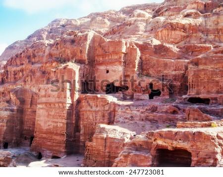 Ancient tombs in Petra, Jordan - stock photo