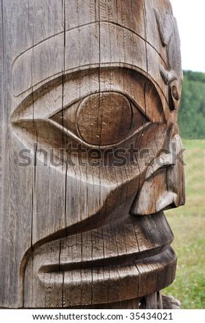 ancient totem - stock photo