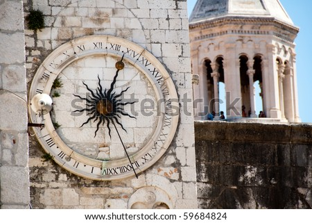 Ancient tower in the town of Split, Croatia - stock photo