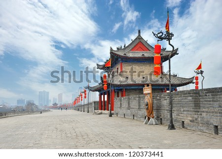 Ancient tower on city wall in Xi'an - China - stock photo